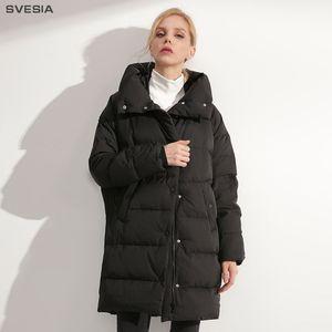 Svesia 2018 mulheres inverno para baixo casacos casacos moda capuz branco pato para baixo de alta qualidade mulheres jaqueta outerwear