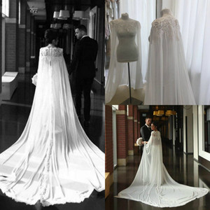 Hot Sale Bridal Wraps Long Cloak Wedding Jackets Cape Custom Top Lace Appliqued Chiffon Elegant Bridal Dress cloak Custom