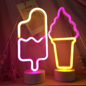 آيس كريم النيون الجدول مصباح النيون أضواء LED للالمعجنات العرض الرئيسية محل بار حزب عطلة فتاة نوم إضاءة الديكور