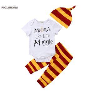 Новорожденный осень весна Emmababy комплект одежды девочка мальчик магия мультфильм Письмо печати футболка комбинезон брюки шляпа 3 шт.