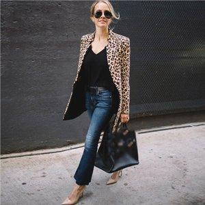 Hot Fashion Women Long Jackets Coat Leopard Lady Motorcycle Cool Outerwear Coat Suit Leopard Tops Coat