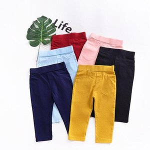 سروال أطفال بنات الصلبة الجوارب بنين لون الحلوى الجوارب الإمتداد سروال الصلبة منتصف الخصر القطن جيب سروال القاع بنطلون 6M-5T 5 تصميم D6373