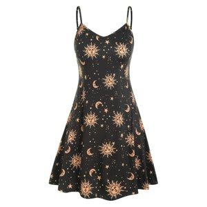 Starry sky sun print sexy camisole dress sun star moon swing dress vintage dress sun flower print