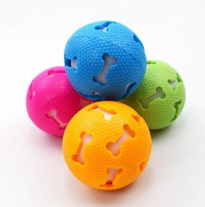 The latest pet toys, hollow bones, 2 styles, luminous vocal ball, 7.5cm dog and cat bite-resistant natural rubber toy