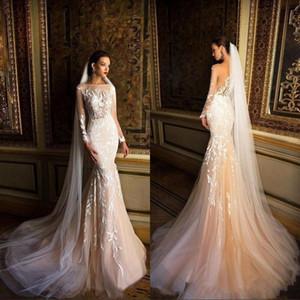 2020 Luxury Milla Nova Beach Wedding Dresses Mermaid Illusion Bateau Long Sleeve Lace Appliqued Champagne Wedding Gown Sweep Train