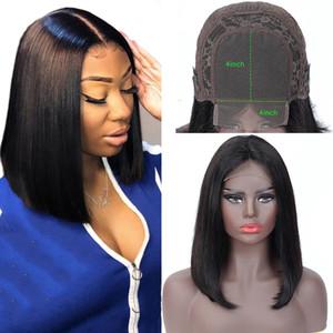 4x4 Bob Dantel Frontal Peruk Brezilyalı Virgin Saç Düz Dantel Frontal İnsan Saç Peruk İsviçre Dantel Frontal Peruk Öncesi Mızraplı
