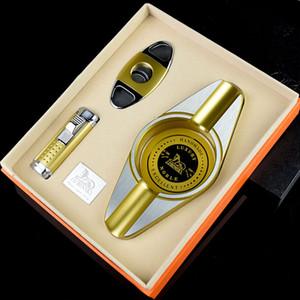 LUBINSKI высокое качество Золотой сигары пепельница резак / ножницы зажигалка 3 в 1 комплект наборы сигары костюм сигары набор инструментов