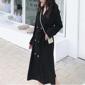 SexeMara 2019 Autunno Nuovo trincea manicotto pieno solido collare colore intaglio doppio petto di modo delle signore cappotto lungo CCO014