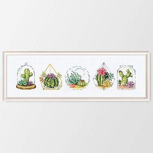 Succulents Cactus Flowers Counted Cross Stitch kit 14ct 11ct Printed Fabric Embroidery DIY Needlework Fishxx