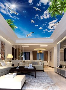3d ceiling murals wallpaper Blue sky white clouds coconut tree seabird sun ceiling