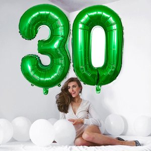 32 40 inch Green Number Foil Balloons 0 1 2 3 4 5 6 7 8 9 Helium Green Balloon Happy Birthday Party Wedding Decoration Supplies