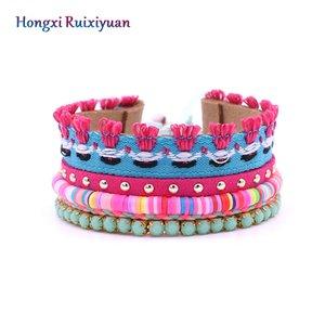 Leather Bracelet Bohemian Style Beaded Chain Lace Bracelet Fashion Activity Knot Handmade Shell jewelry Gift