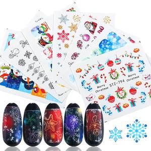 30pcs / set Adhesivos de agua para las uñas Pegatinas de Navidad Envuelve colorido del invierno del copo de manicura de la decoración de Navidad Año Nuevo deslizante JISTZ779-808