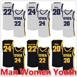 customize NCAA Iowa Hawkeyes basketball jerseys Nicolas Hobbs 24 Patrick McCaffery 22 Riley Till 20 jersey any name number size S-5XL