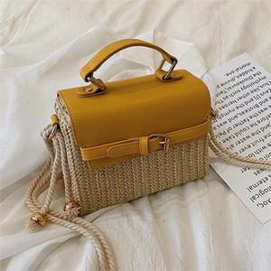 Fabrikgroßhandelsfrauenhandtasche Art und Weise gesponnener Boxsack Sommer neue Stroh Frauen Strandtasche exquisite Art und Weise gesponnener Kuriertasche