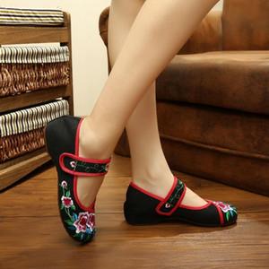 Scarpe di vendita calda delle signore del fiore ricamato cinese fannullone scarpe di tela classici cinesi