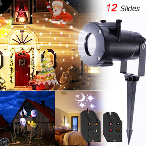 12 Pattern Outdoor Waterproof LED 5W Christmas Snowflake Projector Lamp Spotlight Birthday Halloween Wedding Projector Lights
