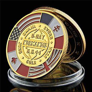 التحدي عملة 1944 الحرب العظمى الولايات المتحدة نورماندي الحرب بانتصار الحلفاء عسكرية للجيش مطلية بالذهب كوين