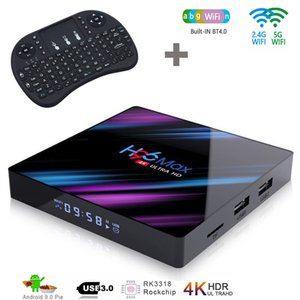 1 Parte H96 Max android 9.0 caixa de tv RK3318 2GB 16GB 4k Smart TV dupla Wifi 2.4G 5G Set Top Box com teclado sem fio