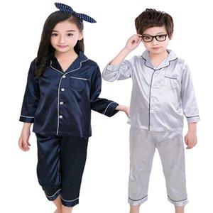 Çocuklar İpek Pajama 2019 İlkbahar Yaz Kız Erkek İpek Kumaş uzun kollu Pijama Takımı Çocuk Pijama kıyafeti Giyim Seti