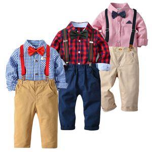 Bambino Neonato Bambini neonati Plaid Striped Top camicia pantaloni formali Abiti Set Gentleman