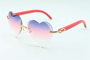 Best-selling Direct sales high-quality new heart shaped cutting lens sunglasses 8300687, red natural wooden temples size: 58-18-135 mm