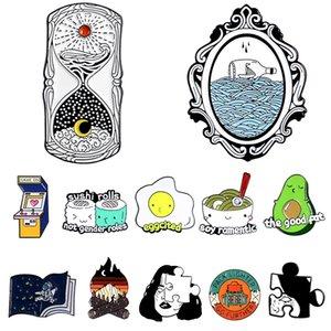 새로운 창조적 인 만화 귀여운 계란 국수 아보카도 모래 시계 도서 가방 아바타 퍼즐 브로치 학생 선물 보석