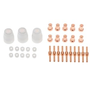 33Pieces Set Air Plasma Cutting Long Nozzle Long Electrode and Gas Ring with Ceramic Cup Accs Kit