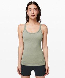 LU-13 여자 요가 썰물 스트리트 탱크 II 클래식 Y 모양의 원활한 조끼와 가슴 패드 운동 체육관 등이없는 피트니스 스포츠 셔츠를 실행