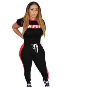 New Casual Womens 2 Piece Set WIFEY Letter Short Sleeve Tops T Shirts and Skinny Pants Women Set