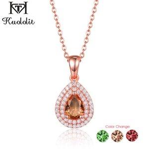 Kuololit 585 oro rosa zultanite pendente della pietra preziosa per le donne solido cambiamento argento 925 Colore diasporo waterdrop collana