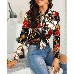 2019 Women's New Fashion Chain Print Long-sleeved Shirt Casual Single-breasted Chiffon ShirtMX190827