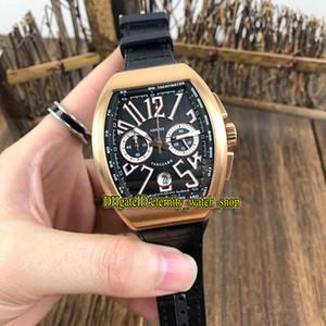 Lusso UOMO COLLEZIONE VANGUARD V 45 CC DT BR (TT) Quadrante Nero Miyota al quarzo Cronografo Mens Movimento Orologio cassa in oro rosa Orologi sportivi