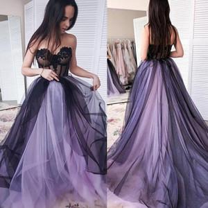 Nupcial coloridos roxo e preto gótico vestidos de casamento Strapless Appliques Lace Tulle A Linha Vintage vestidos Customize Plus Size