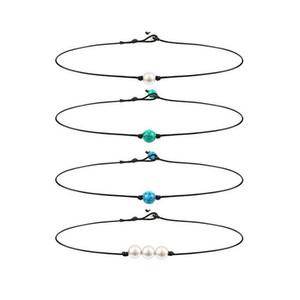 Новые поступления Горячие продажи Pearl Кожа Choker Многие стили Имитация Pearl ручной работы кожа ожерелье DIY Кожа Choker жемчужные украшения