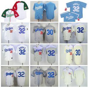 1963 1955 1958 1917 Baseball Vintage 30 Maury Wills Jersey 32 Sandy Koufax aposentar Arrefecer costurado Home Base Equipe Azul Branco Qualidade Grey