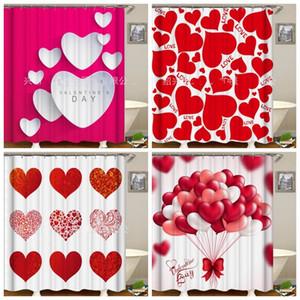 Impresión Digital 3D cortina de ducha por completo de la ducha del amor del corazón Cortinas Día de San Valentín regalo impermeable multi al por mayor estilo 30zy H1