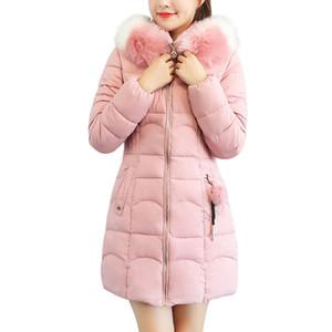 Ceket Bayan Kadınlar Kapşonlu Katı Dış Giyim Sıcak Uzun Kürk Pamuk Parka İnce Ceket Coat kış ceket kadınlar abrigo mujer