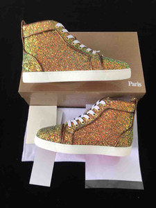 New Crystal Glitter Leather Men Women Red Bottom Casual Shoes Brand Designer Colors Sequins Leather Lace Up High Tops Sneakers With box