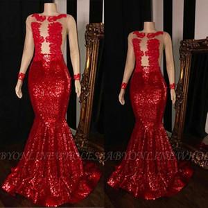 Выпускные платья Red Sequin Mermaid 2019 Кружевные прозрачные платья Выпускные платья с длинными рукавами