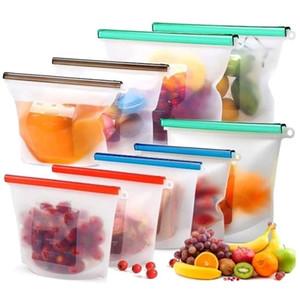 قابلة لإعادة الاستخدام تخزين المواد الغذائية سيليكون ختم الطازجة حقيبة ثلاجة التجميد حاويات الحليب الفاكهة اللحوم المنظم حقائب DHE143