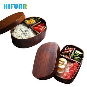 Hifuar Japon Tarzı Bento Kutuları 1 katmanlı 3 izgaralar Ahşap Öğle Yemeği Kutusu Taşınabilir Piknik Çocuk Öğrenciler Gıda Konteyner mutfak Aksesuarları C19041601
