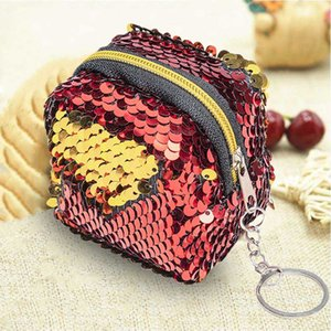 1 PC Mini Sequined Praça Coin Purse Mulheres Menina encantadora PU Leather Coin Packet Coin Purse Money Key Bag Dropship New Arrival