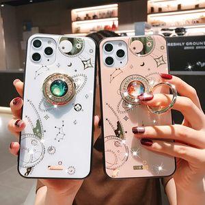 Glitter Planète Motif téléphone pour l'iphone 11Pro SE XR XS MAX 6 7 8 Plus Miroir Jeweled doux Brack en verre avec anneau de couverture de cas
