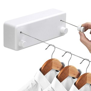 Creative Outdoor Clothes rack Indoor Retractable Clothesline Rope Telescopic Stainless String Laundry Hangers Wall Drying Rack