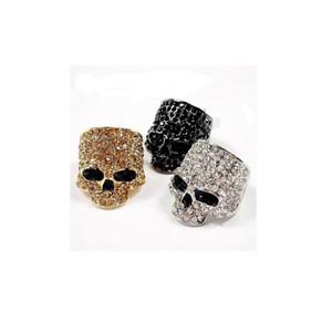 Marke Schädel-Ringe für Männer Frauen-Rock-Punk Unisex Crystal Black / Gold / Silber-Farben-Biker Ring männlich Mode Schädel Schmuck Accessoires