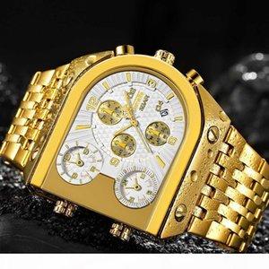 Male Clock Sport Watch Men Quartz Analog Clock 3 Time Zone Sub-dials Design Big case Oversize Fashion Gold Wrist Watches relogio