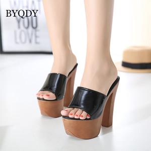 BYQDY Moda Yaz Kadın Rugan Platform Wedges Sandalet Ultra Yüksek Topuklar Rahat Sandalet Açık Creepers ağaçlık