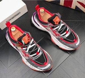 2020 Designer Men Casual shoes breathable driving shoes wedding party shoes Male Platform board shoe Rock hip hop mixed color shoe