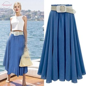 Plus Size Long Skirt Solid Women High Waist Jeans Skirt Faldas Summer Skirts Pleated Casual Vintage Bottom Saia New Jupe Femme Cd